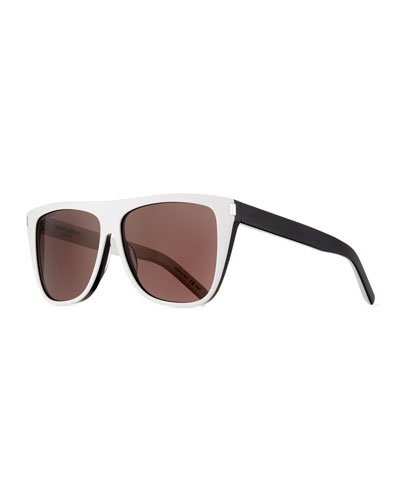 Two-Tone Acetate Rectangle Sunglasses