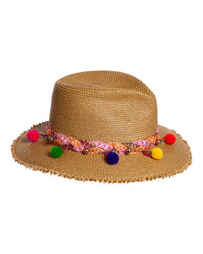 43f90919827 Corfu Woven Sun Hat w  Braided Pompom Detail
