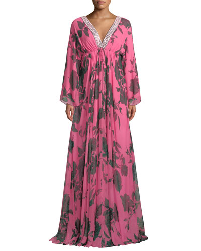 Jeweled V-Neck Floral-Chiffon Caftan Gown