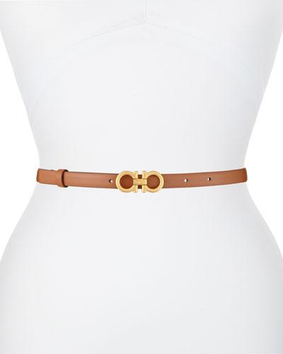 Skinny Leather Gancini Belt