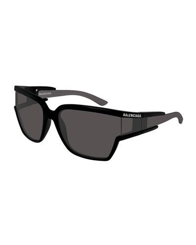Balenciaga Soft Mask Monochromatic Wrap Square Sunglasses