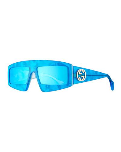 Acetate Shield Sunglasses w/ Mirrored Lenses