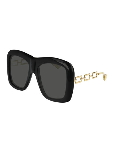 Square Acetate Sunglasses w/ Metal Chain Arms