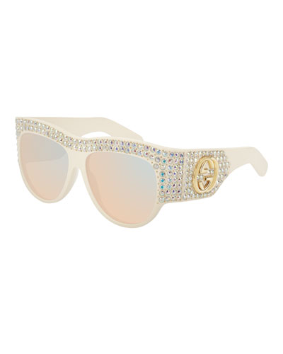 Crystal Studded Mirrored Sunglasses