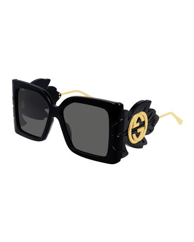 8c05c67bf789 Square Acetate Sunglasses w/ Oversized Leaf & GG Temples Quick Look. Gucci