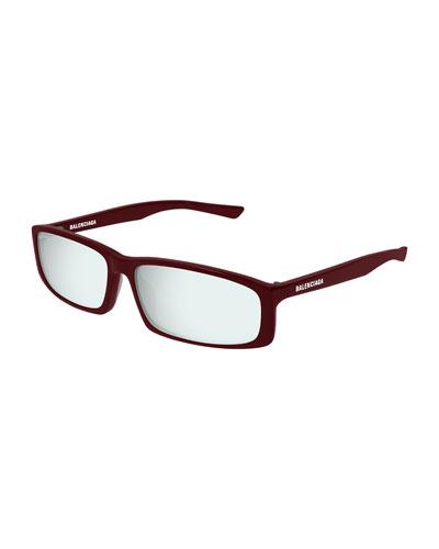 Mirrored Rectangle Acetate Sunglasses