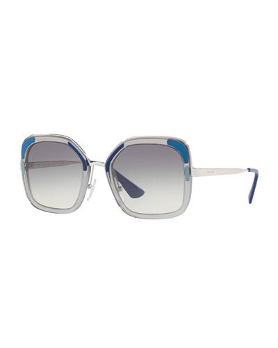 64b56f6bc9da ... new arrivals rimmed square metal sunglasses quick look. prada 86bd6  cae77 best price prada womens triangular cat eye ...