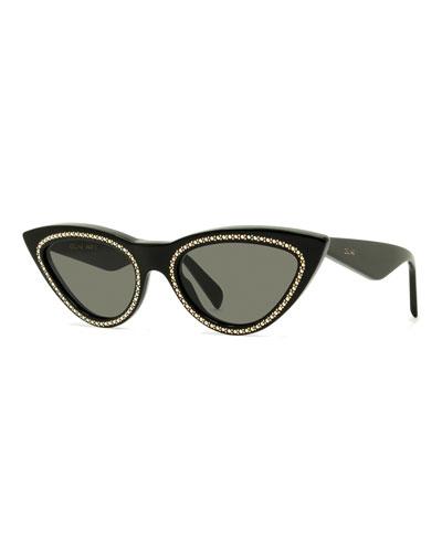 Celine Studded Cat-Eye Acetate Sunglasses