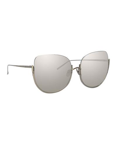 8b92687f8e Semi-Rimless Mirrored Butterfly Sunglasses