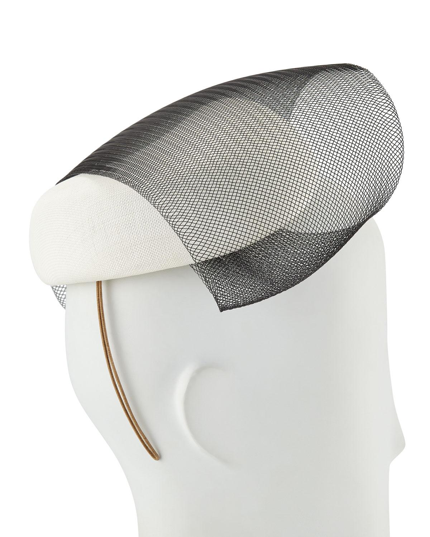 Philip Treacy Accessories COFFEE BEAN BERET W/ CONTRAST VEILING