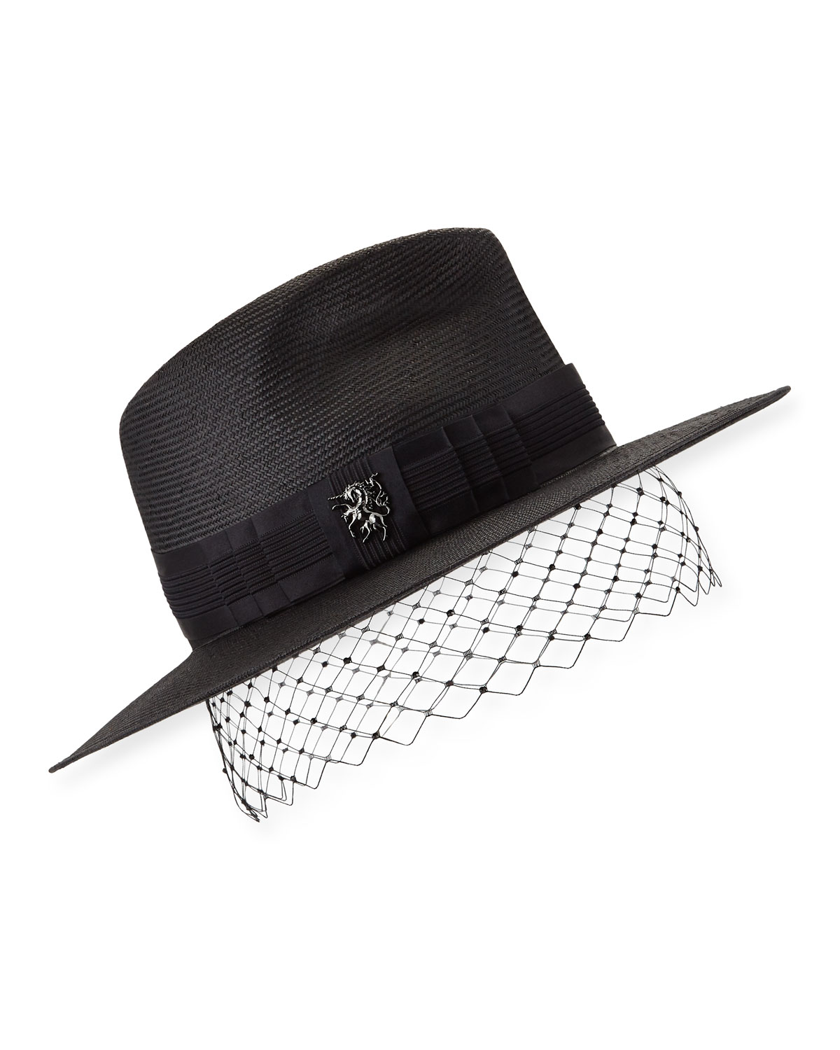 Philip Treacy Accessories LOW PINCHED TRILBY W/ VEILING