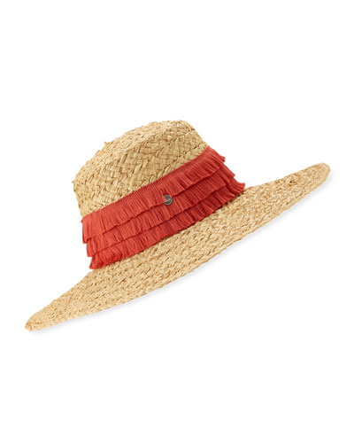 c90ba5fba0f Mar Braided Raffia Sun Hat w  Fringe Trim