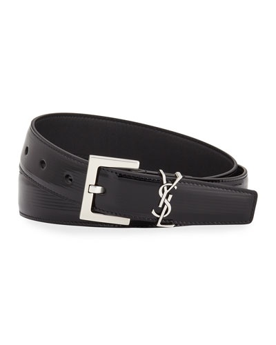 YSL Monogram Textured Patent Leather Belt