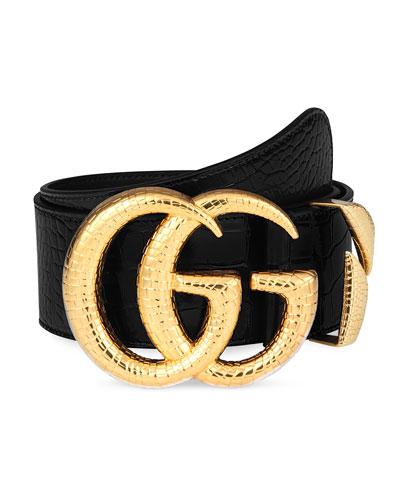 Crocodile Belt w/ Double G Buckle