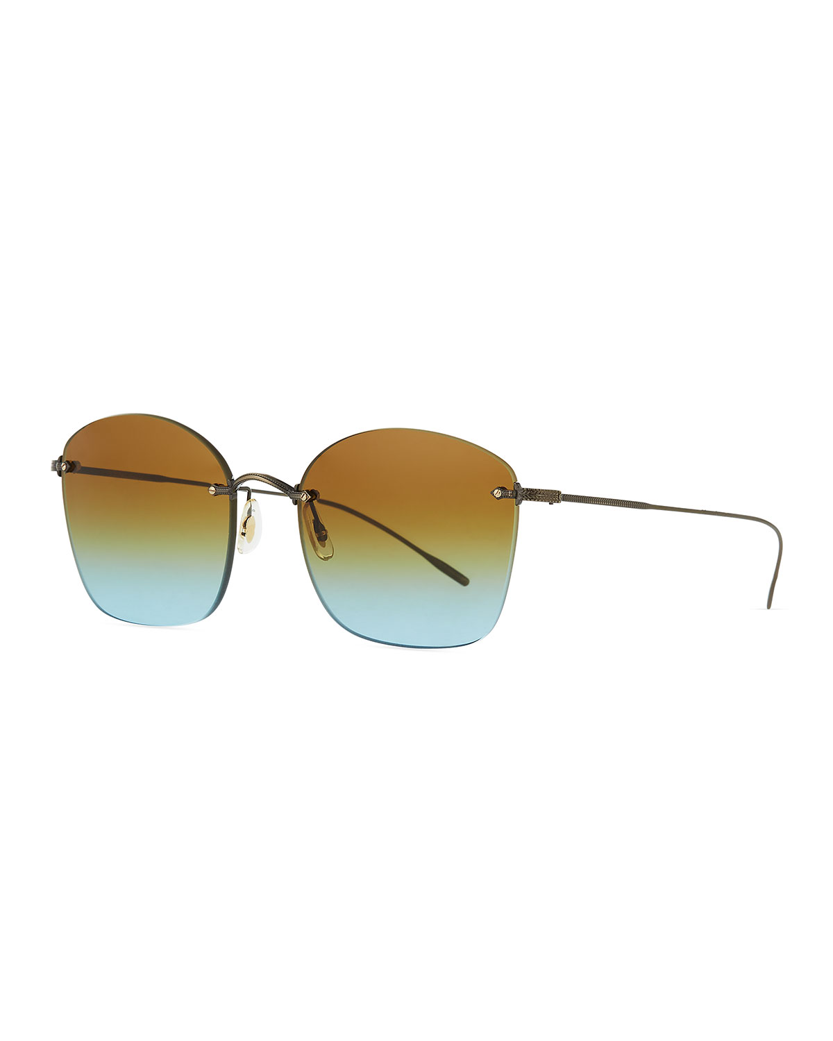Oliver Peoples Sunglasses SQUARE RIMLESS ENGRAVED SUNGLASSES