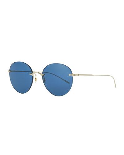 e419c04635 Oval Rimless Metal Engraved Sunglasses