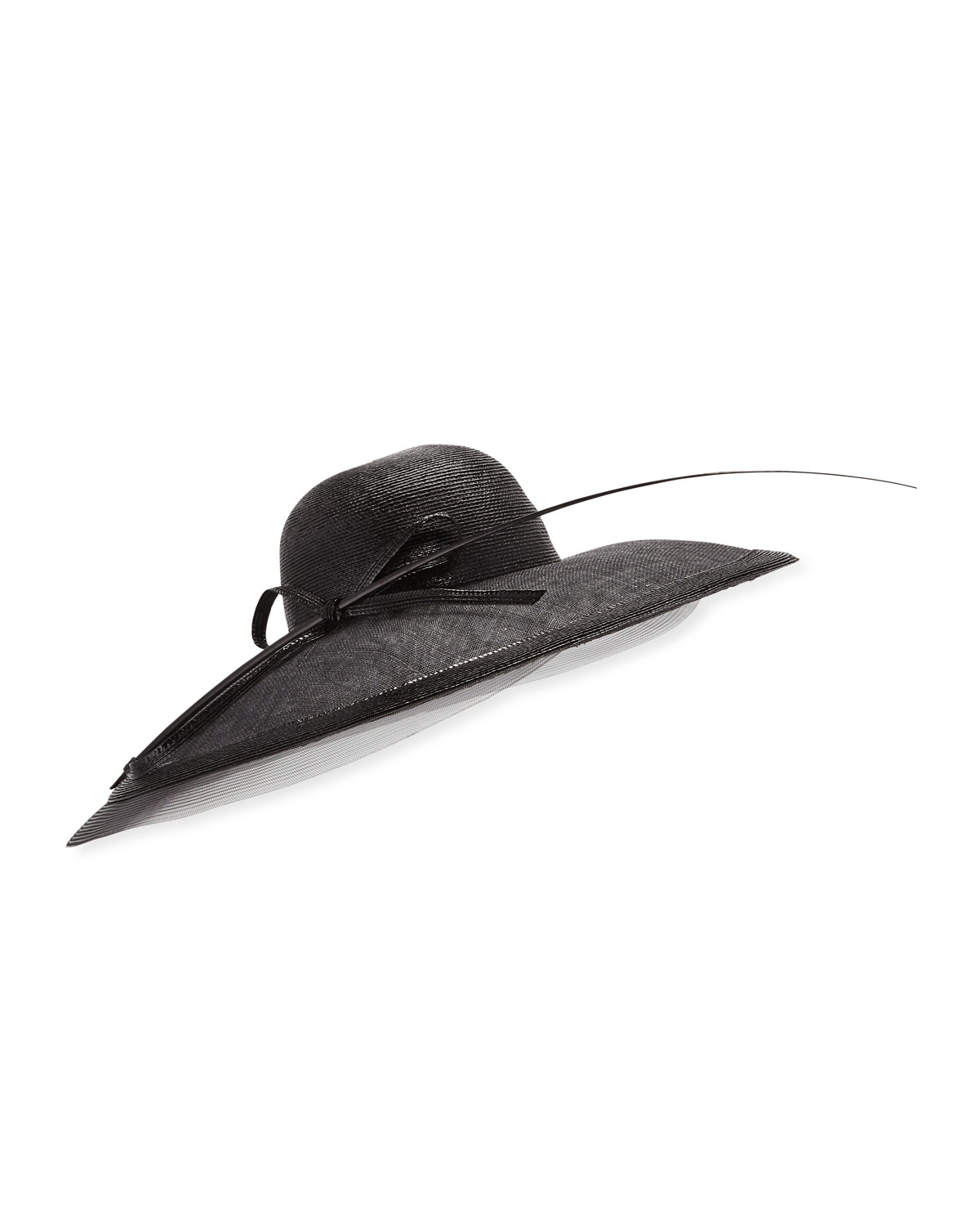 Marzi Hats CAPELINA MECHANICAL BRAID HAT W/ SISAL BOW & FEATHER