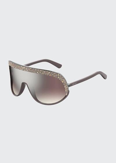 e74a880995aef Siryns Wrap Shield Sunglasses w  Crystal Detailing
