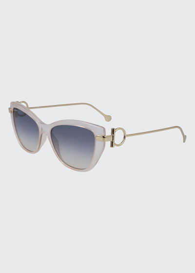 Gancio Cat-Eye Plastic & Metal Sunglasses