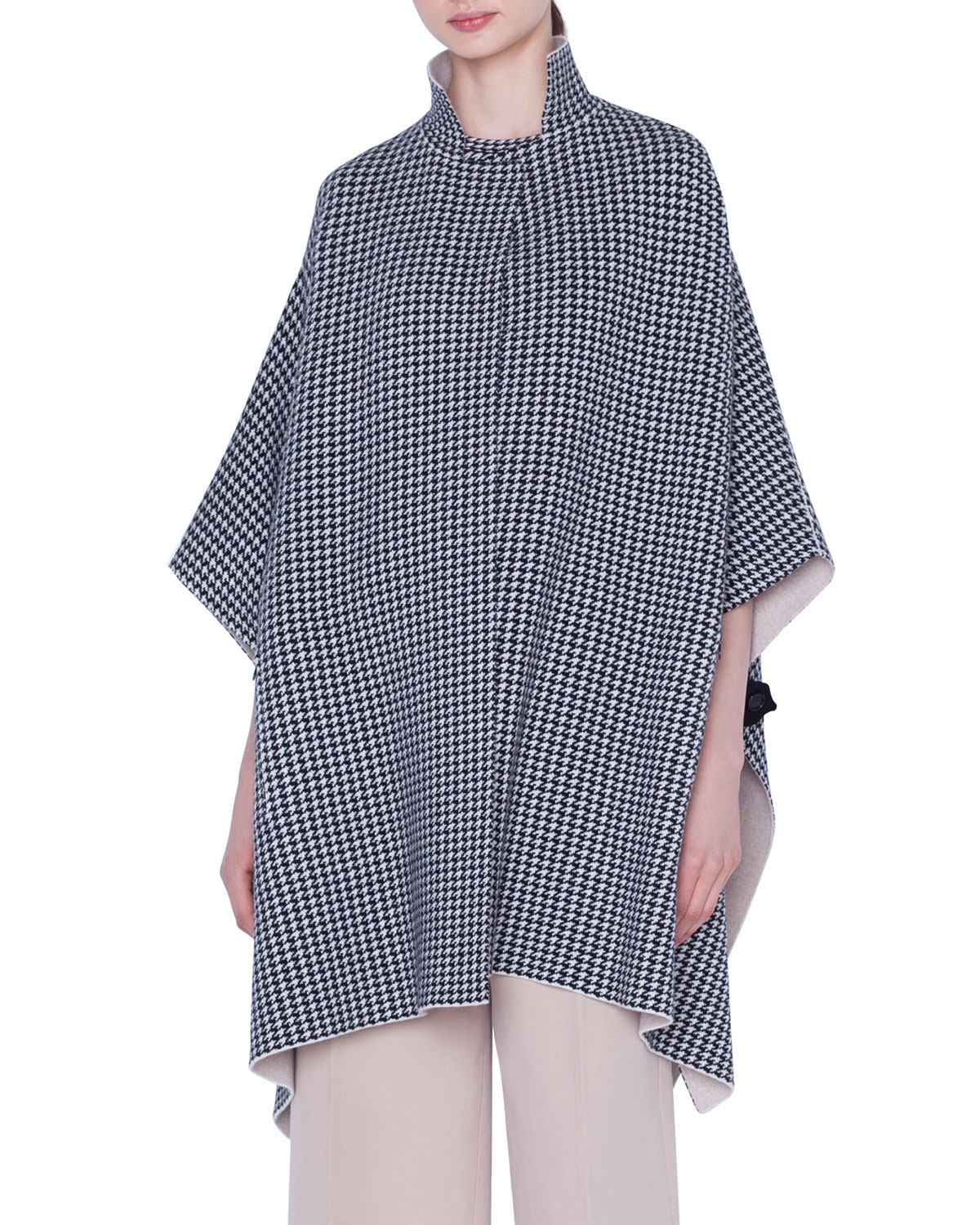 Akris Tops REVERSIBLE CASHMERE HOUNDSTOOTH-JACQUARD CAPE