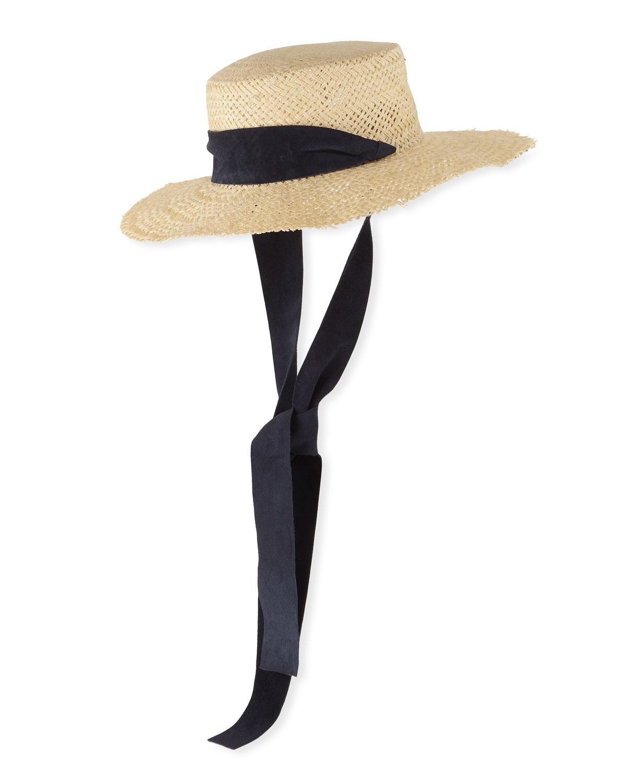 Janessa Leone Hats NINA STRAW SUN HAT W/ PULL-THROUGH SCARF