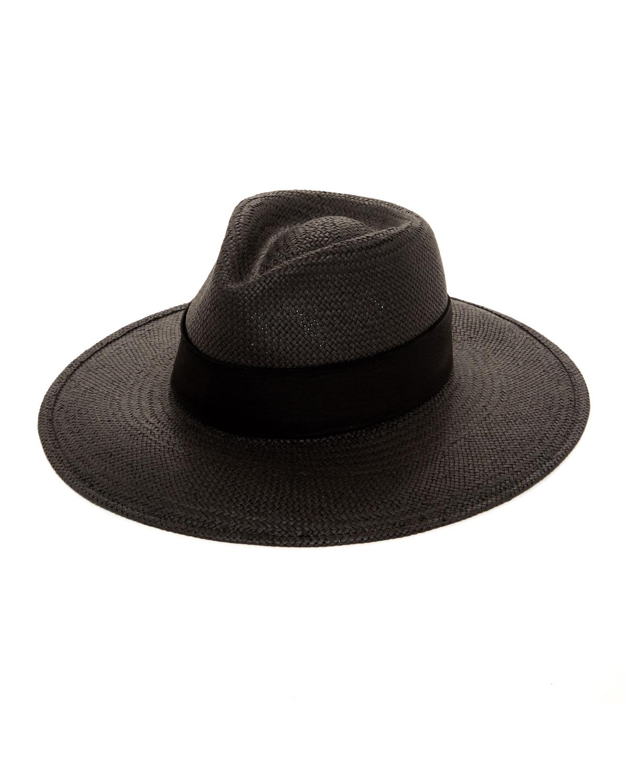 Janessa Leone Hats ROSE STRAW FEDORA HAT W/ SUEDE HAT BAND