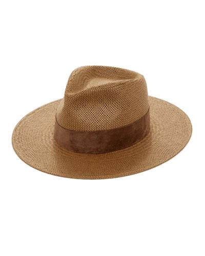 1314b5577249c Luna Straw Fedora Hat w  Suede Hat Band
