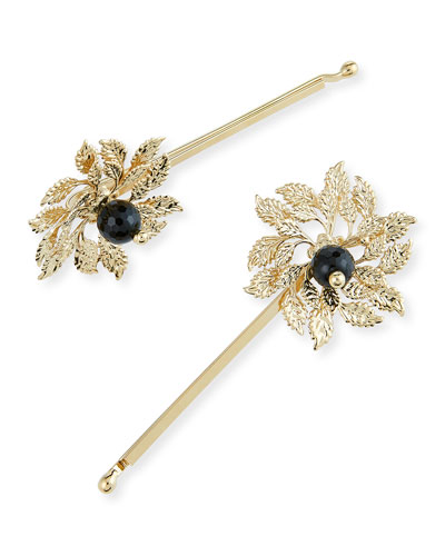 Grace Brass Acanthus Leaf Bobby Pins, Set of 2
