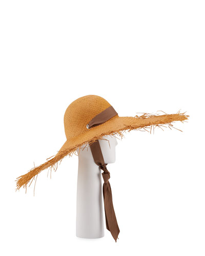 Straw Wide Brim Panama Hat w/ Self-Tie Ribbon