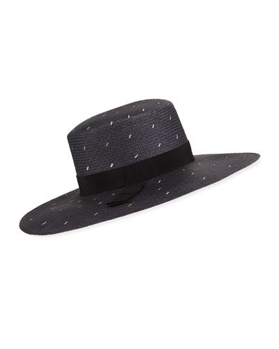 d536e91a25831 Noire Woven Dot Pattern Boater Hat