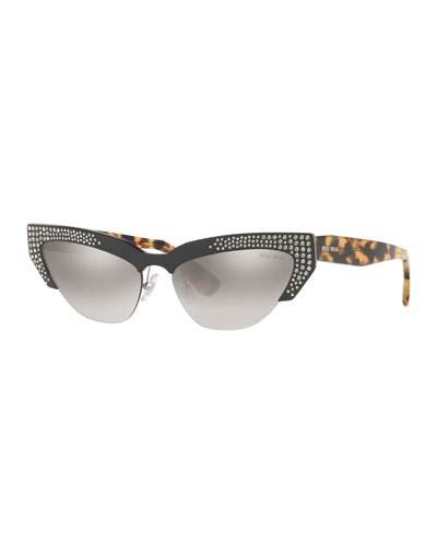 eb8f7b6327be7 Semi-Rimless Cat-Eye Sunglasses