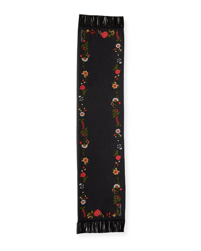 Floral Embroidered Fringe Scarf