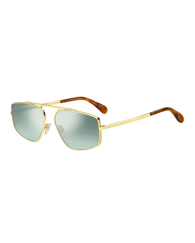 Rectangular Mirrored-Lens Metal Sunglasses