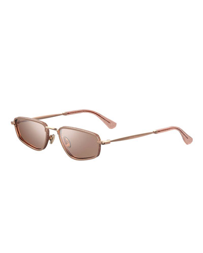 Gals Slim Glittered Rectangle Sunglasses