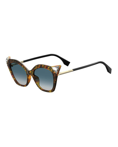 c2b5bcd6dff Crystal-Trim FF-Print Cat-Eye Sunglasses Quick Look. Fendi