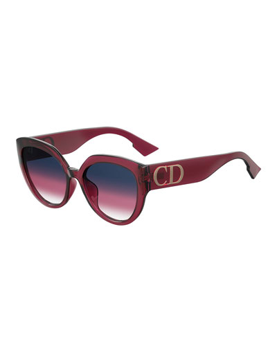 47a669b1b1 DiorF Round Sunglasses w  Oversized Logo Temples