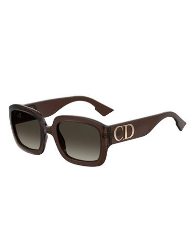 dc05a5d2b73 Square Sunglasses w  Oversized Logo Temples