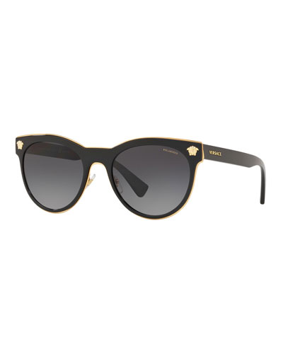 Polarized Round Metal Medusa Head Sunglasses