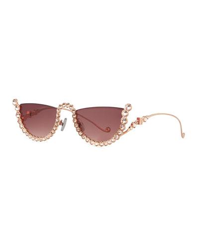 1493ffdd75 Half Moon Semi-Rimless Cat-Eye Sunglasses w  Crystal Trim