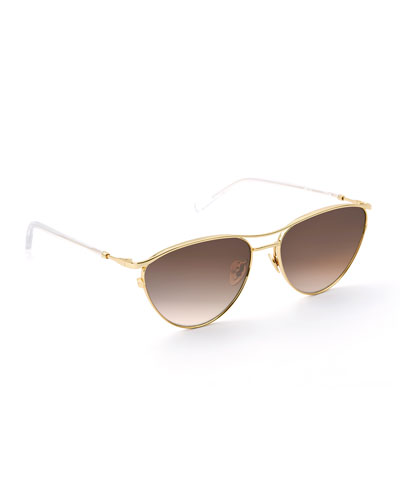 Cohn Titanium/Clear Acetate Cat-Eye Sunglasses