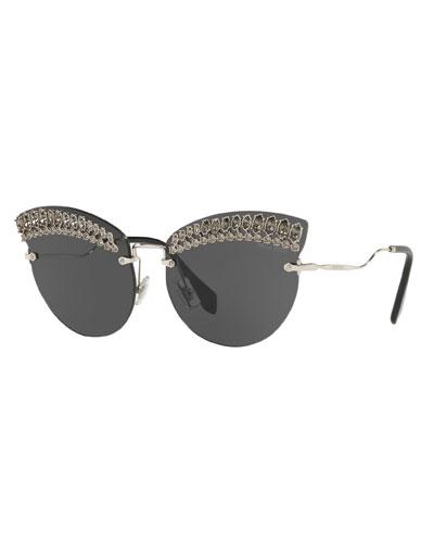 e2b7848d09f Crystal Trim Rimless Cat-Eye Sunglasses