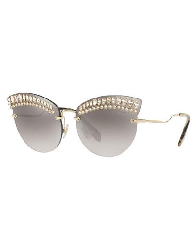 e42b8b29a2 Crystal Trim Rimless Cat-Eye Sunglasses