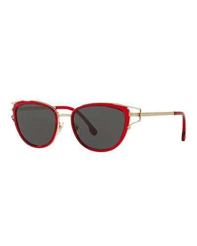 c856b271d7 Greek Key Metal Cat-Eye Sunglasses