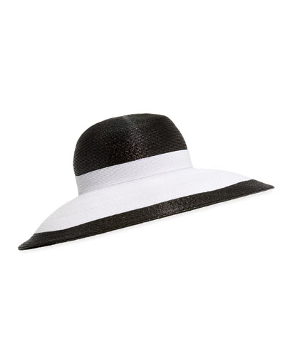 Joan Two-Tone Lacquered Straw Structured Hat