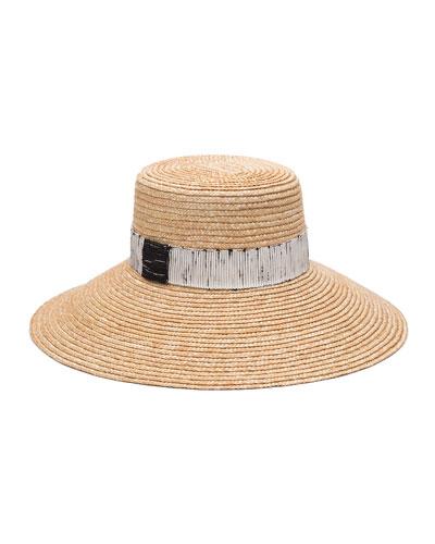 Annabelle Straw Sun Hat w/ Contrast Trim
