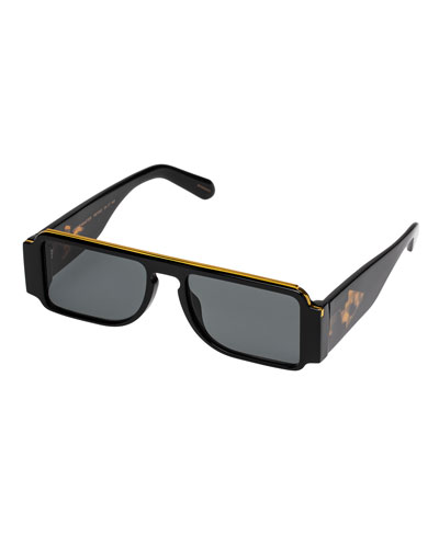 Grand Master Plastic & Metal Rectangle Sunglasses