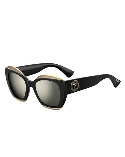 Mirrored Square Acetate Sunglasses