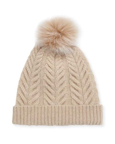e8166019562 Staghorn Cable Knit Hat w  Fur Pompom