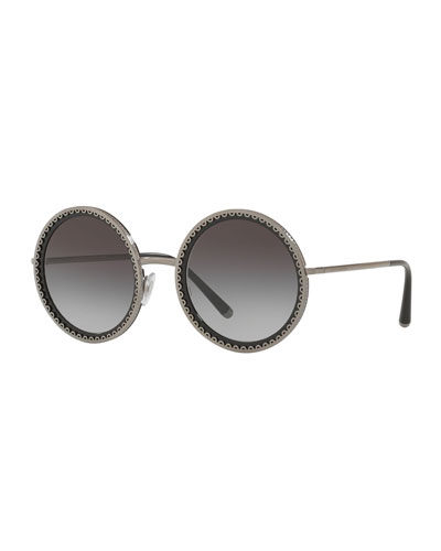 Round Scalloped Metal Frame Sunglasses