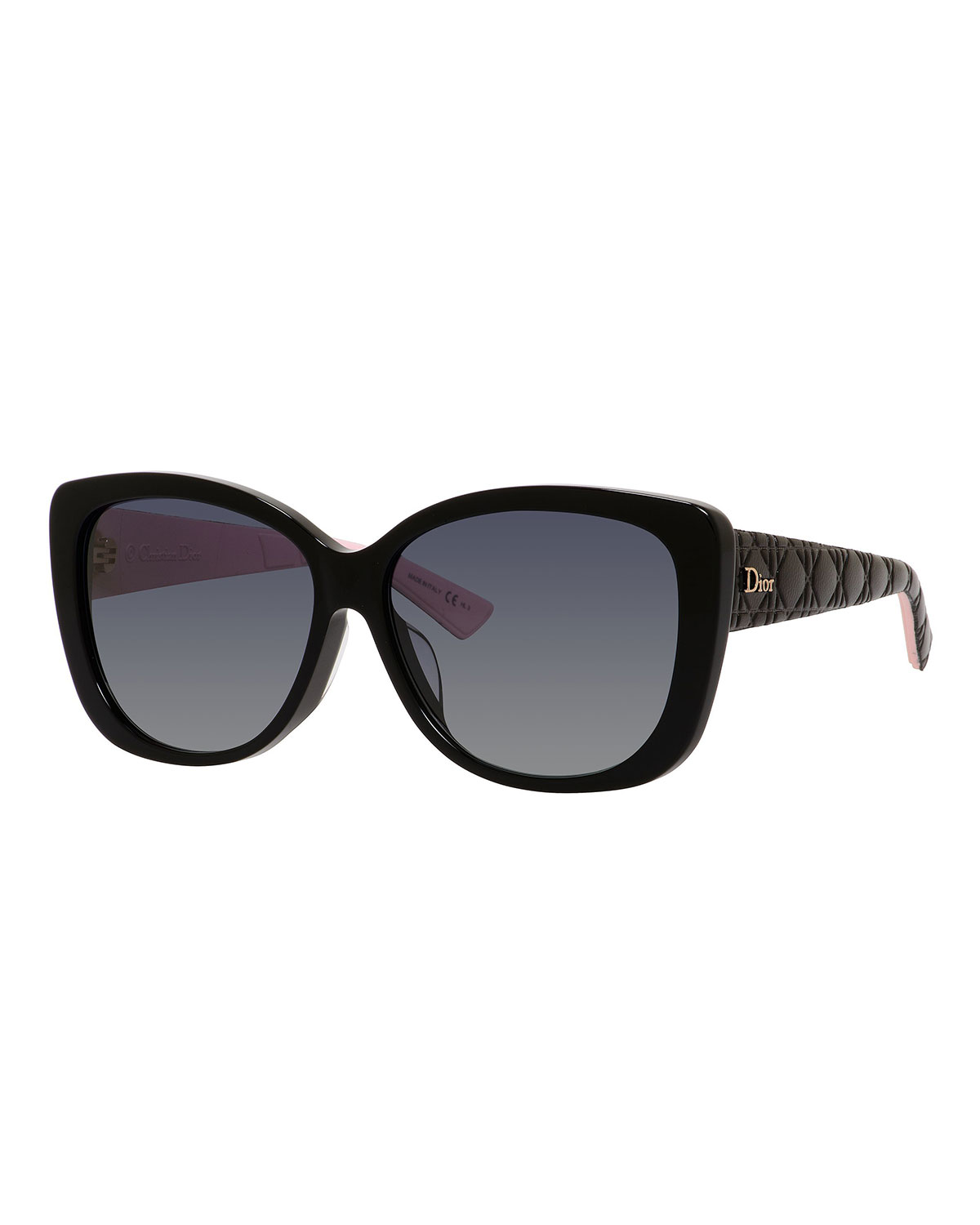 8403fe80dd52 Dior Lady2Rfs Square Quilted Acetate Sunglasses In Black  Pink ...
